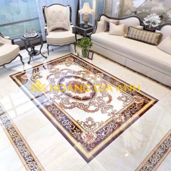 Phòng khách tân cổ điện phù hợp với việc sử dụng gạch thảm